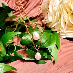 Two Strand Pearl Y Necklace